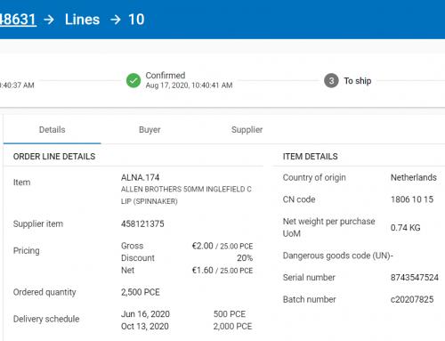 Product feature: Artikelinformatie laten controleren/aanvullen door de leverancier tijdens het orderproces.